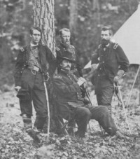 Hancock, surrounded by three of his division commanders: Francis C. Barlow, David B. Birney, and John Gibbon during the Wilderness campaign