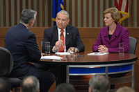 Baldwin and Thompson debating during the 2012 election