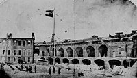 Panormanic View of Left shoulder Angle at left with a 2nd Hot Shot furnace and Left face at right; Ft Sumter 1861; flying the Confederate Flag