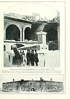 """[Top] A photographic view of the Hot shot Furnace at right shoulder angle and a 10-in. columbard cannon pointing to Charleston;<ref>See Ft Sumter Map """"Battles and Leaders of the Civil War Vol 1 p.54</ref>[Bottom] Exterior view of Gorge and Sally Port Ft Sumter April 1861 after its surrender"""
