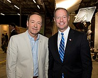 Spacey showing Maryland governor Martin O'Malley around the set of House of Cards, May 2013