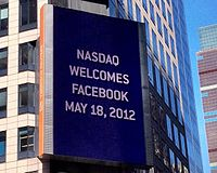 Billboard on the Thomson Reuters building welcomes Facebook to NASDAQ, May 2012