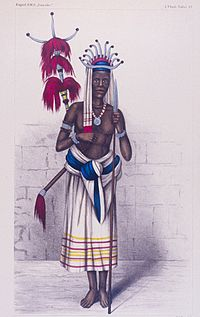Portrait of a Timorese warrior in the area of Kupang in 1875, from the report of the expedition of the German ship SMS Gazelle.