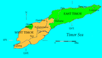 Top: Political division of Timor between Indonesia and East Timor Bottom: Location of Timor in Indonesia