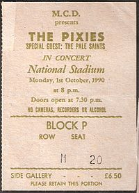 Pixies ticket from October 1, 1990
