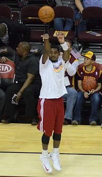 Irving during warm-ups in 2012