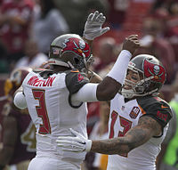 Winston (left) with teammate Mike Evans in 2015 against the Washington Redskins