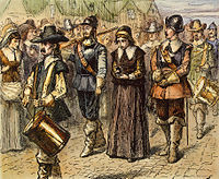 Quaker Mary Dyer being led to execution on Boston Common, June 1, 1660; by an unknown 19th century artist