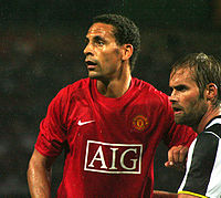 Ferdinand with Olof Mellberg in a match against Juventus in 2008