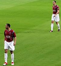 Rio and Anton Ferdinand playing in Tony Carr's testimonial match in 2010.