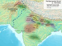 Eastern border of the Achaemenid Empire and ancient kingdoms and cities of India (c.500 BC).