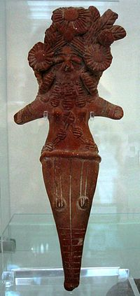 Mother Goddess (fertility divinity), possibly derived from the Indus Valley Civilization, terracotta, Sar Dheri, Gandhara, 1st century BC, Victoria and Albert Museum