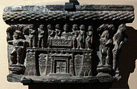 Sharing of the Buddha's relics, above a Gandhara fortified city.