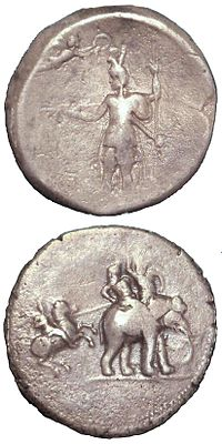 """""""Victory coin"""" of Alexander the Great, minted in Babylon c.322 BC, following his campaigns in Bactria and the Indus Valley. Obverse: Alexander being crowned by Nike. Reverse: Alexander attacking king Porus on his elephant. Silver. British Museum."""