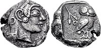 Athens coin (c.500/490–485 BC) discovered in Pushkalavati. This coin is the earliest known example of its type to be found so far east. Such coins were circulating in the area as currency, at least as far as the Indus, during the reign of the Achaemenids.