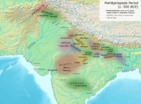 Kingdoms and cities of ancient India, with Gandhara located in the northwest of the Indian subcontinent, during the time of the Buddha (c.500 BC).