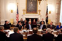 President Barack Obama and then-Vice President Joe Biden speak to a bipartisan group of governors about building a clean energy economy, February 2010