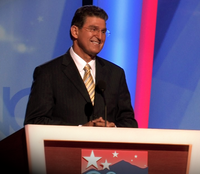 Manchin speaks during the second day of the 2008 Democratic National Convention in Denver, Colorado, in his capacity as chair of the Democratic Governors Association.