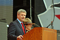 Prime Minister Stephen Harper speaking at 2009 Canada Day celebrations on Parliament Hill in Ottawa.