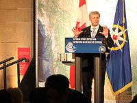 Harper appearing at a gala at the Royal Ontario Museum in Toronto to celebrate the discovery of, one of two ships wrecked during John Franklin's lost expedition.