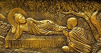 This East Javanese relief depicts the Buddha in his final days, and Ānanda, his chief attendant.
