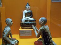 The chief disciples of the Buddha, Mogallana (chief in psychic power) and Sariputta (chief in wisdom).