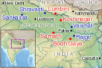 Map showing Lumbini and other major Buddhist sites in India. Lumbini (present-day Nepal), is the birthplace of the Buddha, and is a holy place also for many non-Buddhists.