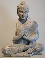 Gandharan sculpture depicting the Buddha in the full lotus seated meditation posture, 2nd-3rd century CE