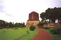 Dhamek Stupa in Sarnath, India, site of the first teaching of the Buddha in which he taught the Four Noble Truths to his first five disciples