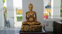 """The gilded """"Emaciated Buddha statue"""" in an Ubosoth in Bangkok representing the stage of his asceticism"""