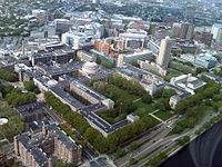 Aerial view of part of MIT's main campus