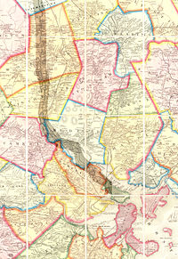 """1852 Map of Boston area showing Cambridge and regional rail lines and highlighting the course of the Middlesex Canal. Cambridge is toward the bottom of the map and outlined in yellow, and should not be confused with the pink-outlined and partially cropped """"West Cambridge"""", now Arlington."""