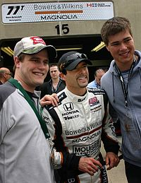 Tagliani with fans at Indianapolis Motor Speedway after winning the pole position for the 2011 Indianapolis 500