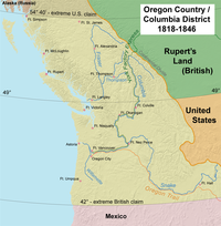 Map of Oregon Country, 1818–46