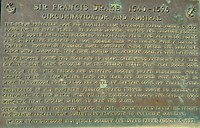 Monument near Coos Bay, Oregon, of Francis Drake's first North American Encounter. Plaque by Oregon State Parks and Oregon Historical Society.