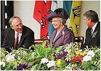The official reconvening of the Scottish Parliament in July 1999 with Donald Dewar, then first minister of Scotland (left) with Queen Elizabeth II (centre) and Presiding Officer Sir David Steel (right)
