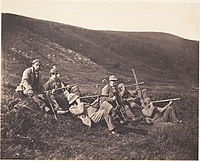 Deer stalkers on Glenfeshie Estate spying with monoculars, ca. 1858