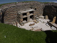 The exposed interior of a house at Skara Brae