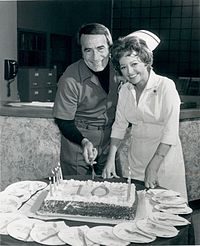 John Beradino and Emily McLaughlin celebrating the 10th Anniversary of the show in 1973.