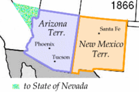 Split of Arizona and New Mexico territories, in 1866, after small portion ceded to Nevada