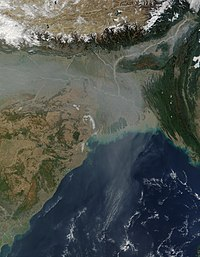 Air pollution in South Asia spread over the Bay of Bengal and beyond.