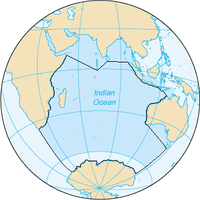 The Indian Ocean, according to the CIA The World Factbook (blue area), and as defined by the IHO (black outline - excluding marginal waterbodies).