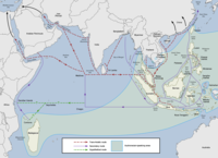 The Austronesian maritime trade network was the first trade routes in the Indian Ocean.