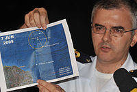 Recife, 8 June 2009; Captain Tabosa shows the map with the location of the remains of the Airbus A330-203.