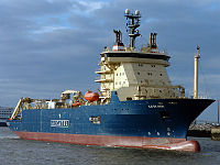 Cable ship was assigned to assist in the recovery of materials from the ocean floor.