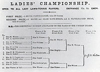 Ladies Championship, 1884. First prize, awarded to Maud Watson, was a silver flower-basket worth 20 guineas.
