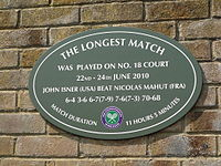Record plaque about the longest match ever played at Wimbledon