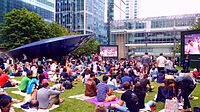 People watching the Championships' broadcast in Canary Wharf
