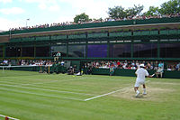 Sébastien Grosjean takes a shot on Court 18 during the 2004 Championships.