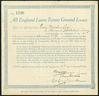 Debenture of the All England Lawn Tennis Ground Ltd., issued 20. August 1930
